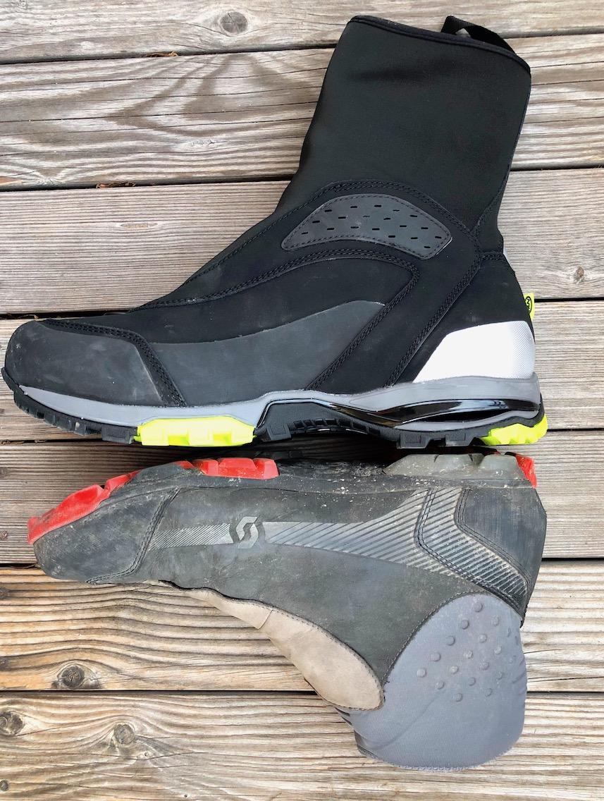 Schuhe im Vergleich: der NorthWave (oben) ist bei gleicher Schuhgröße (48) deutlich voluminöser