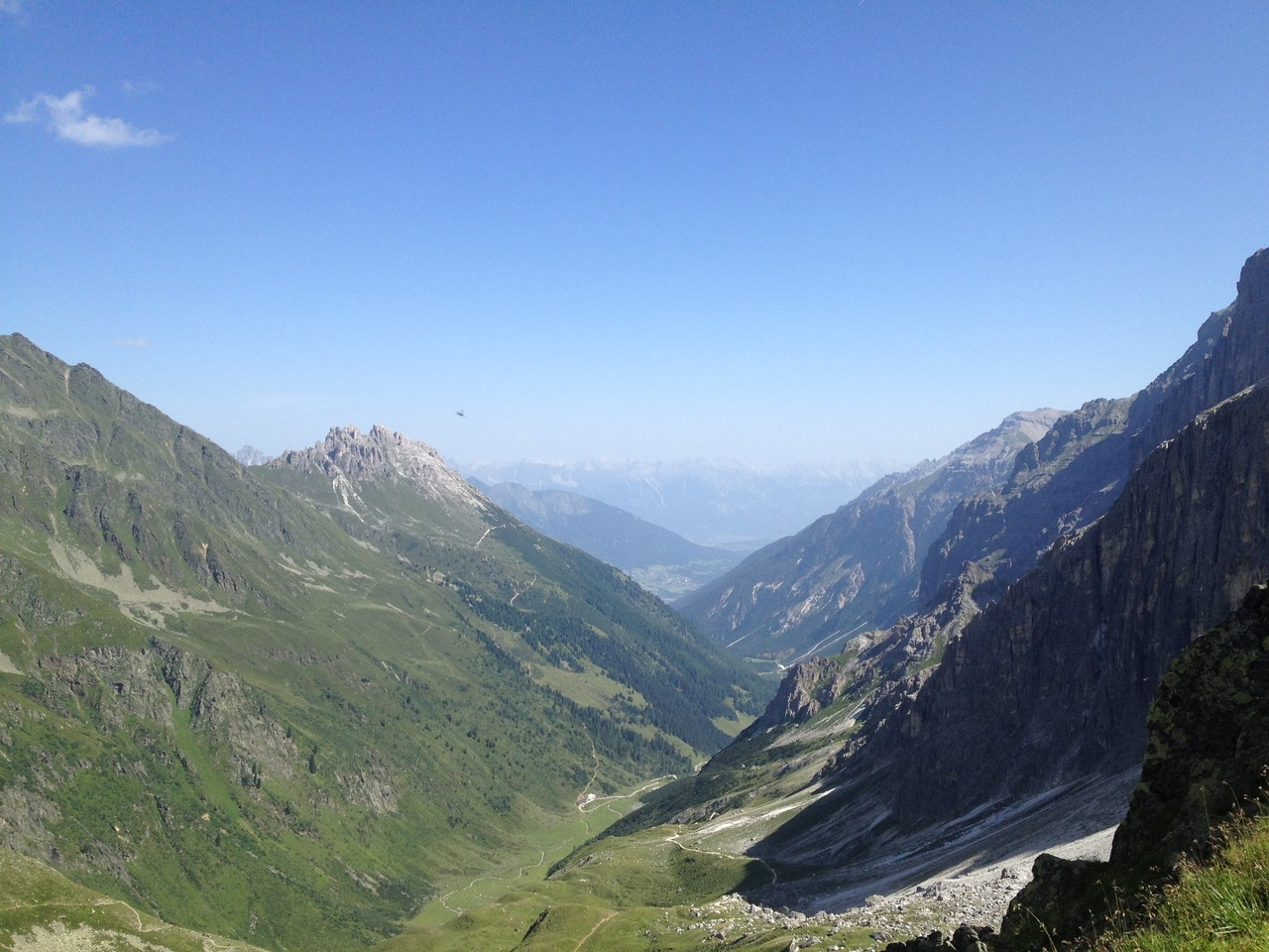 Blick von der Innsbrucker Hütte in das Pinnistal, Neustift