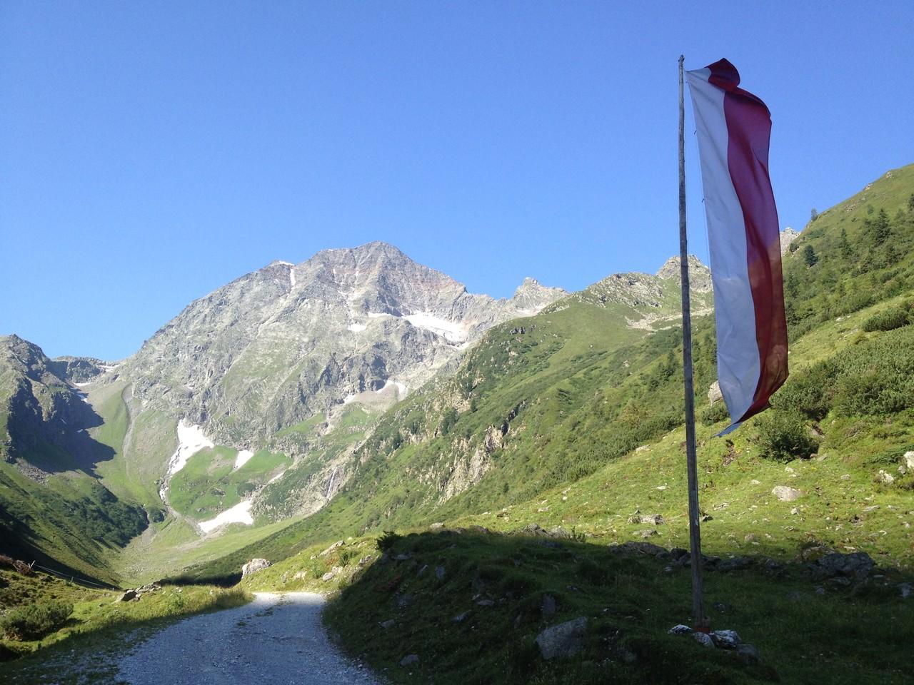 Höchster Berg, der Habicht, zu sehen von der Kaserstattalm, Neustift