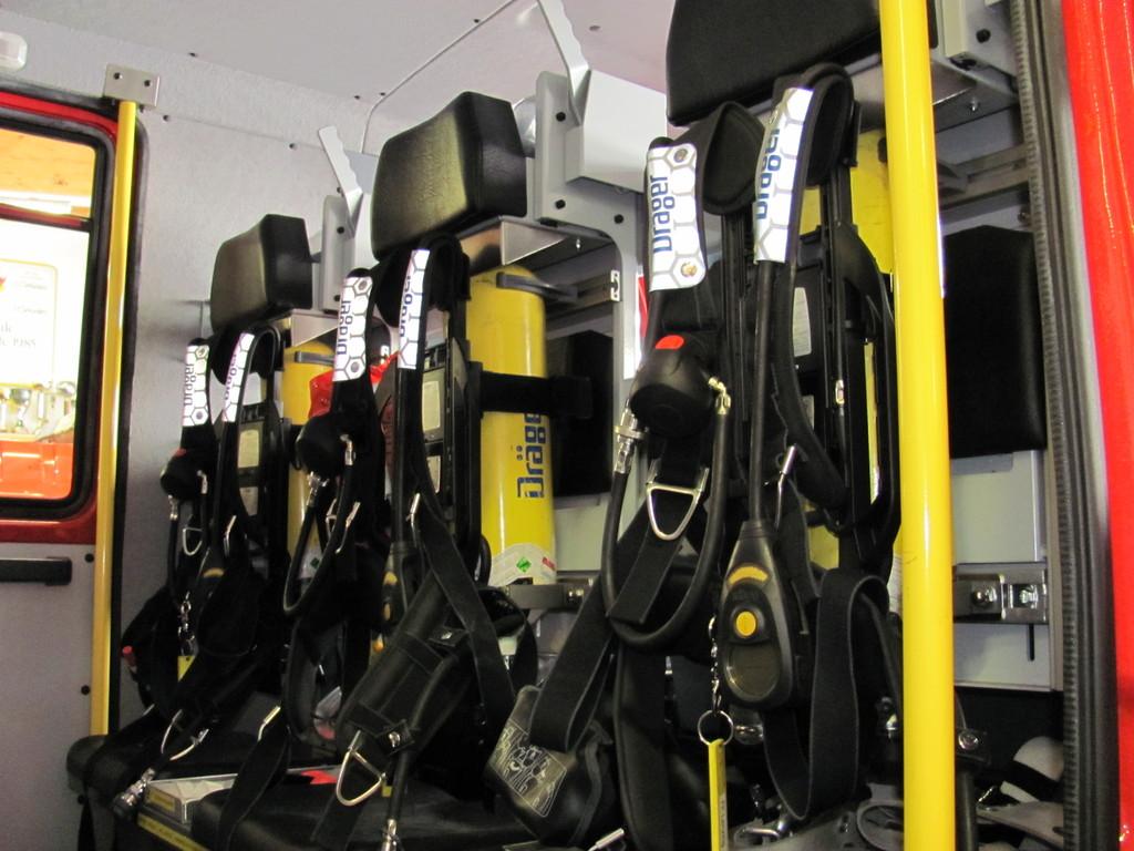 Atemschutzgeräte im Mannschaftsraum