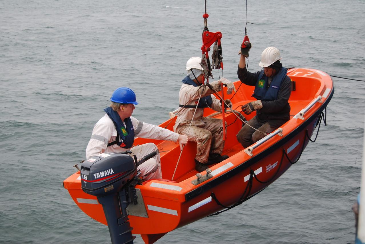 Auch das andere Rettungsboot wird getestet