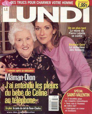 Céline Dion et sa mère - Couverture Le Lundi Magazine  [Canada] (17 Fevrier 2001)