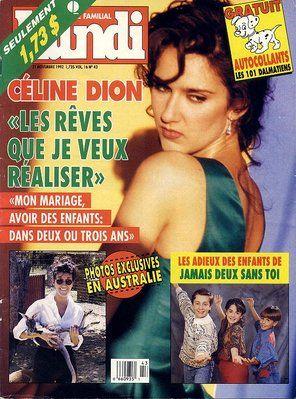 Céline Dion - Couverture Le Lundi Magazine  [Canada] (21 Novembre 1992)
