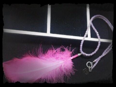 フェザーネックレス ピンク