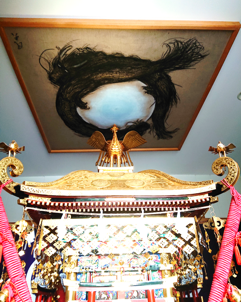 金鑚神社神輿殿天井画「玉水双龍」