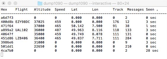 Datenausgabe von DUMP1090