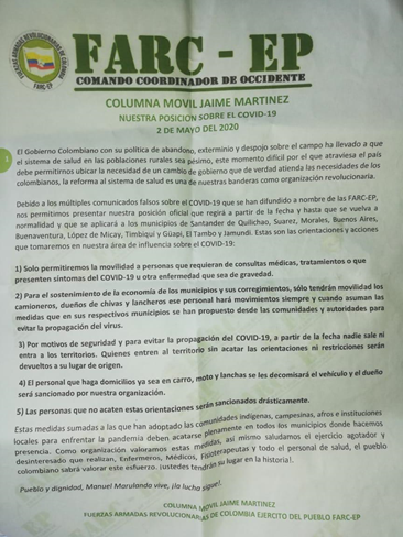 "Pamphlet distributed in the cities of Cauca, signed ""Columna Movil Jaime Martinez"", dissident group of the FARC-EP."