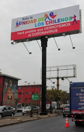 """""""Chilean unity is the only way for us to defeat the coronavirus"""", San Miguel neighborhood, Santiago of Chile (source Wikicommons)."""