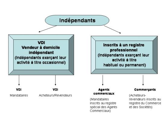 les différentes catégories d'indépendants, les VDI mandataires, les VDI acheteurs/revendeurs, les agents commerciaux et les commerçants