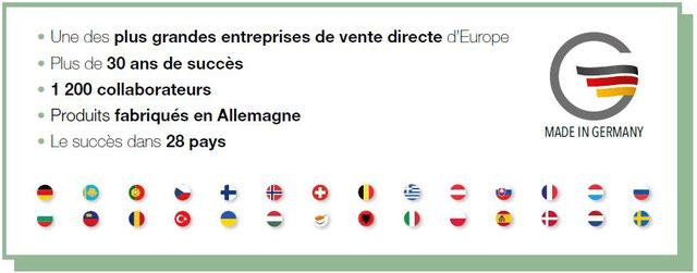 Une des plus grandes entreprises de vente directe en Europe, plus de 30 ans de succès, 1200 collaborateurs, produits fabriqués en Allemagne, le succès dans 28 pays