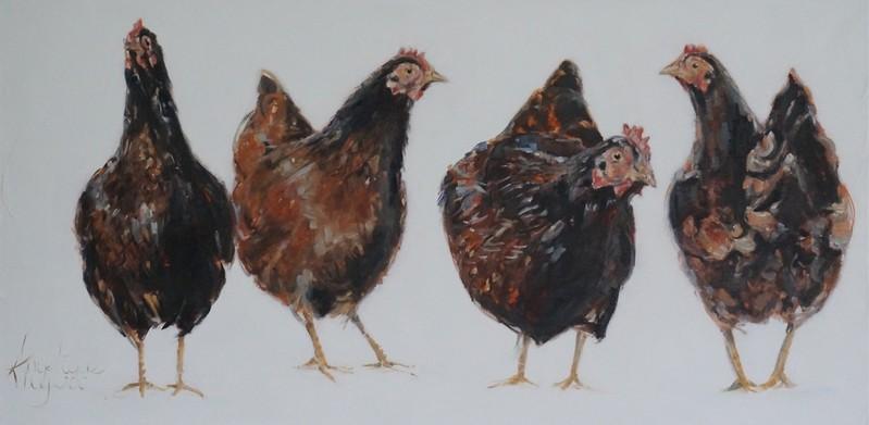De kippen van Jan/The chickens of Jan  | oil on linen |100x50cm