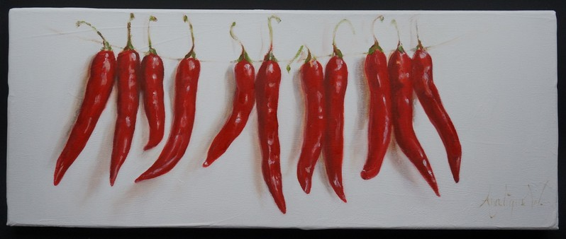 Slingertje pepers/Parsley peppers   oil on linen   50x20cm  