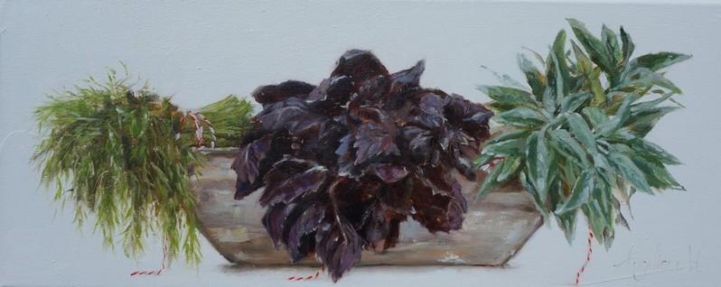 Bos' kruiden/ Herbs| oil on linen | 50x20cm