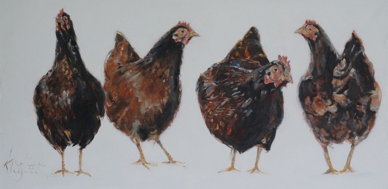 De kippen van Jan/The chickens of Jan    oil on linen   100x50cm