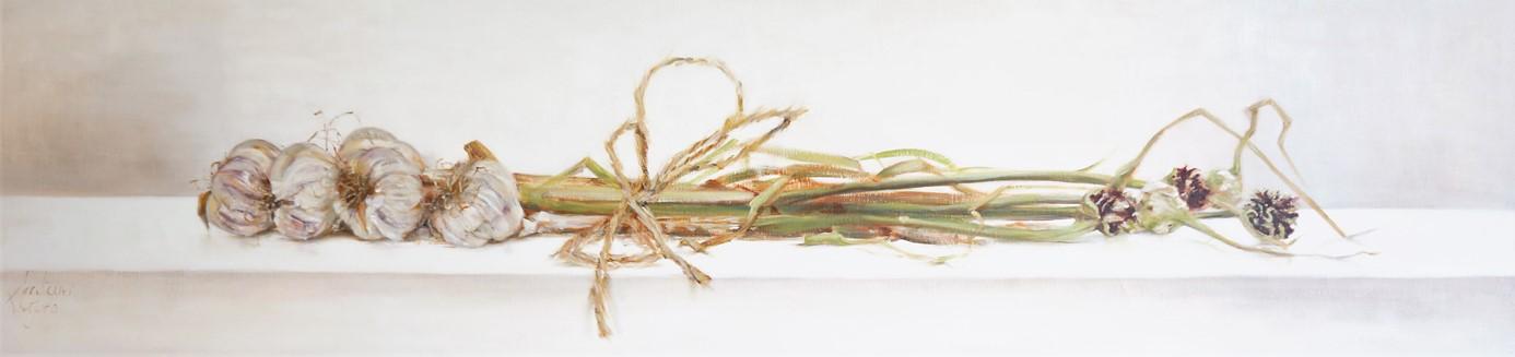 Knoflook 'gestrikt' | oil on linen | 120x60cm