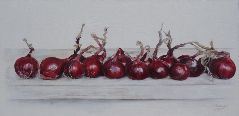 Rommeltje uien/Mess of onions | oil on linen | 100x50cm