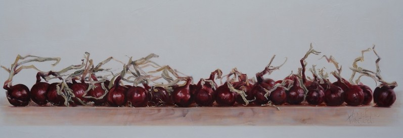 Uien voor Greetje/Onions for Greetje | oil on linen | 155x50cm