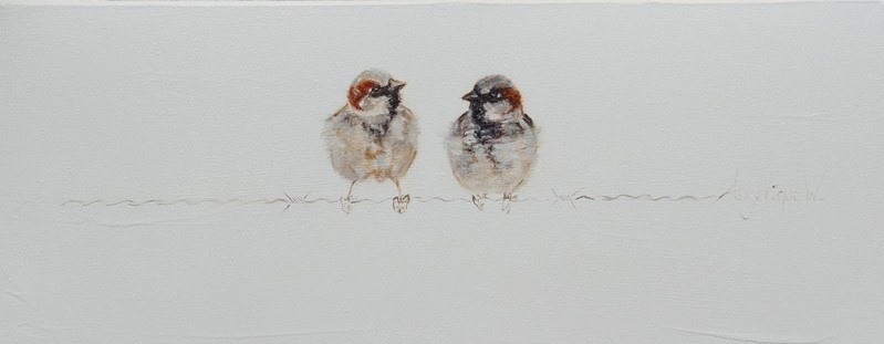Twee boers/Two brothers | oil on linen | 50x20cm