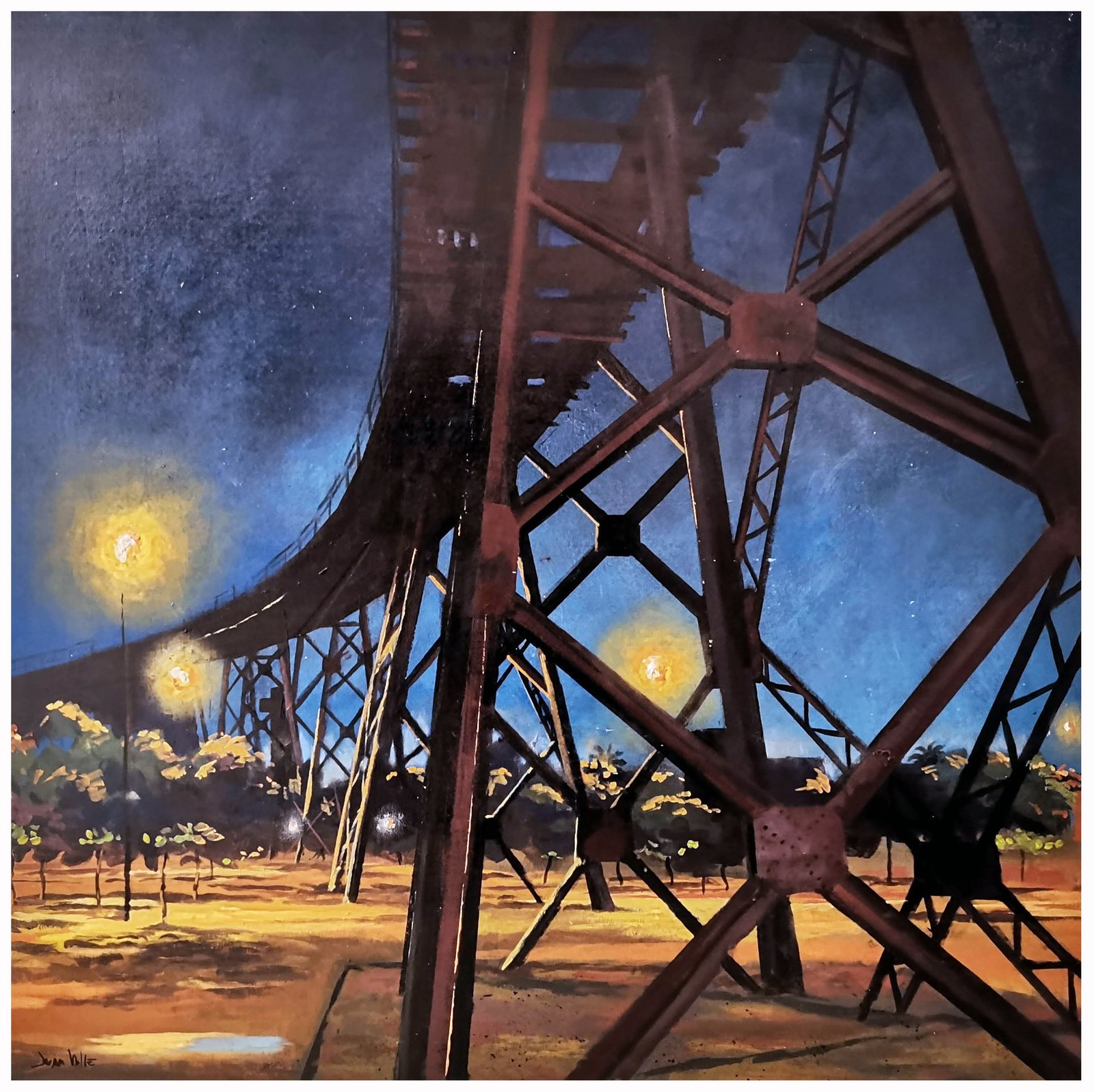 Nocturno Cargadero de mineral  , 60x30 Cm. Acrílico sobre tabla.