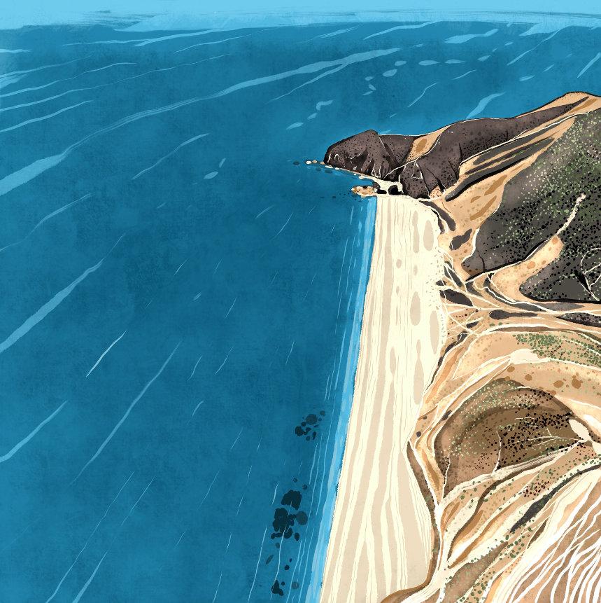 """""""Playa de Los Muertos"""",  Estampación digital, 50 x 70 cm  y  30 x 42,6 cm."""