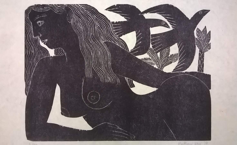 Mujer y pájaros, xilografia sobre papel de bambú,  70 x 100 cm.