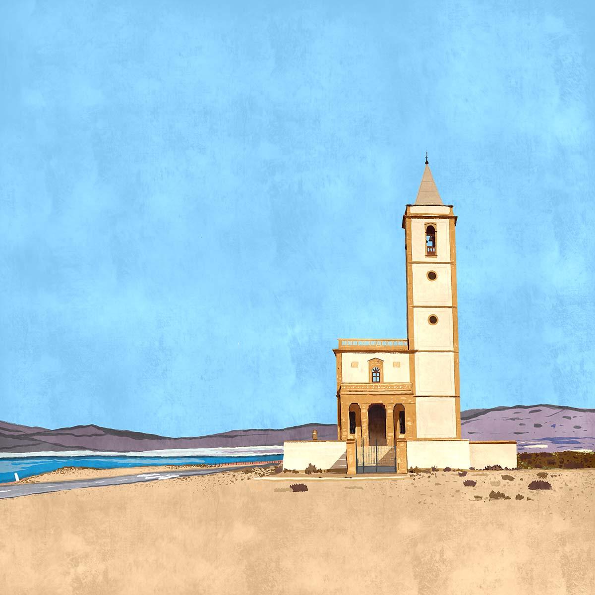 """""""Iglesia de las Salinas"""",  Estampación digital, 50 x 70 cm  y  30 x 42,6 cm."""