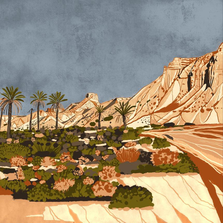 """""""Desierto de Tabernas"""",  Estampación digital, 50 x 70 cm  y  30 x 42,6 cm."""