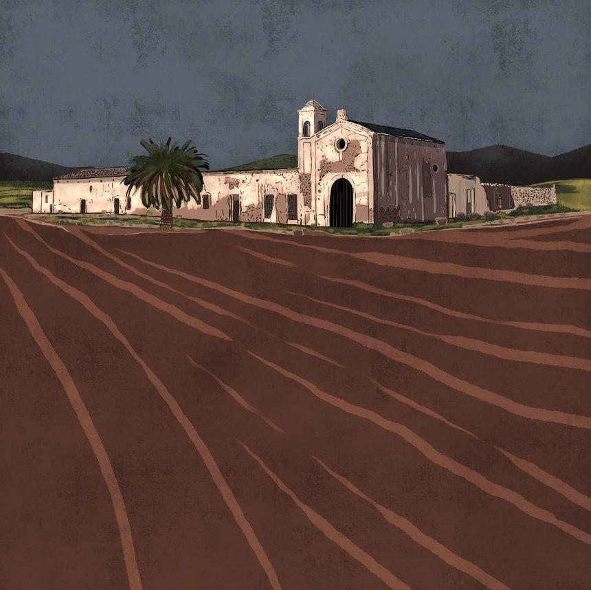 """""""Cortijo del Fraile de noche"""",  Estampación digital, 50 x 70 cm  y  30 x 42,6 cm."""