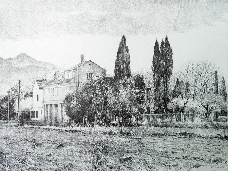 Casa Secadero. Lápiz sobre tabla 30x28 cm
