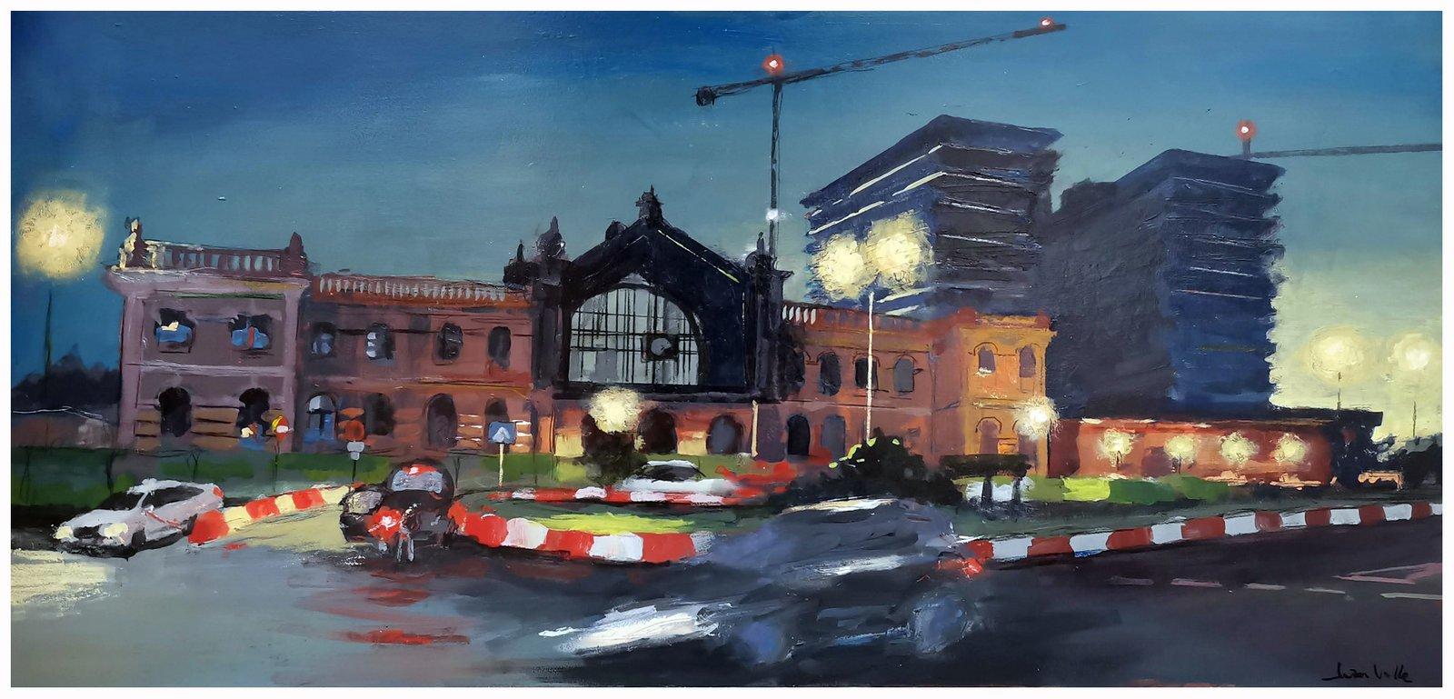 Nocturno Estación de ferrocarril, 80 x80,