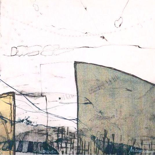 DIQUE, lITOGRAFÍA 25 X 25 cm..