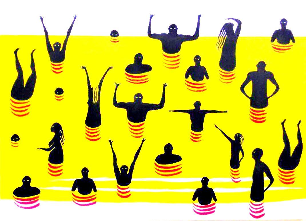 """Javier Huecas """"Bañistas"""" Acrílico sobre tela 200 x 144 cm."""