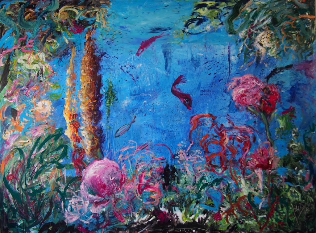 FONDO MARINO12,  Acrílico sobre tabla, 120 x 80 cm.