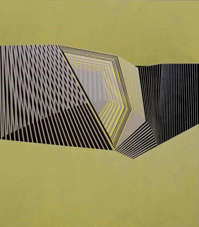 Pasarela, Acrílico y lápiz de color, 160x140 cm .