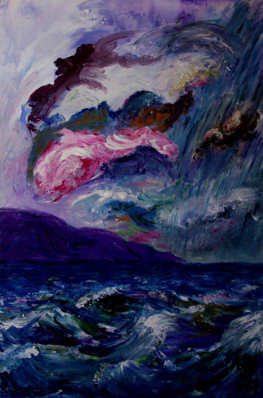 "Ginés Cervantes ""Lluvia en el Cabo"" Acrílico sobre tabla 120 x 80 cm."