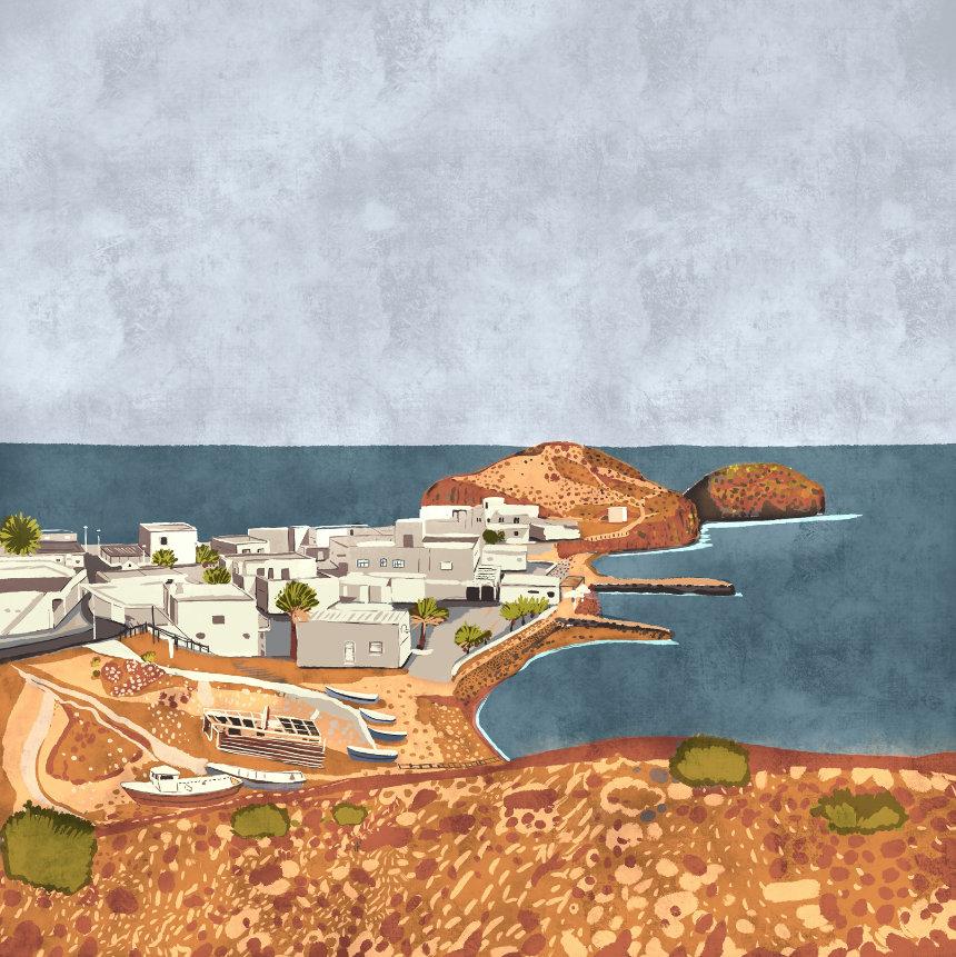 """""""La Isleta del Moro"""",  Estampación digital, 50 x 70 cm  y  30 x 42,6 cm."""