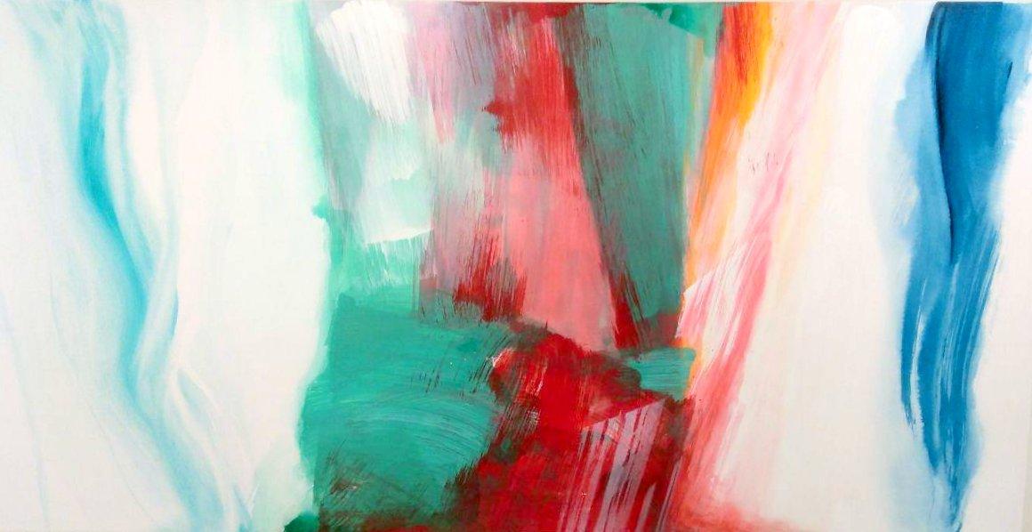 """Lola Valls """"Travesía """" Acrílico sobre tabla. 200 x 100 cm."""