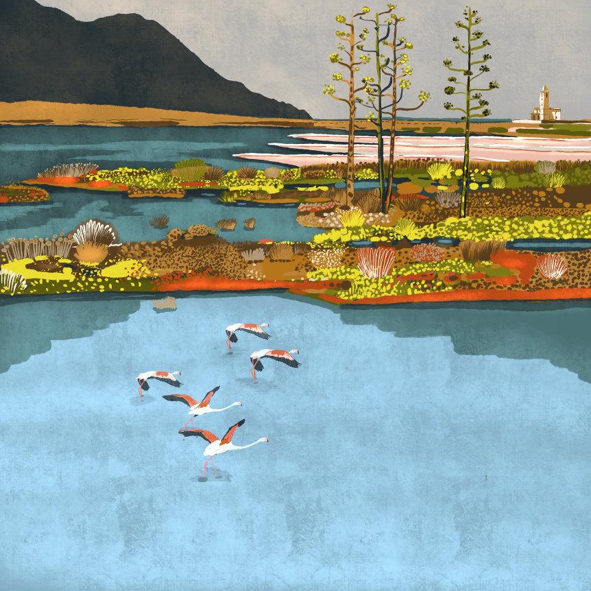 """""""Las Salinas del Cabo"""",  Estampación digital, 50 x 70 cm  y  30 x 42,6 cm."""