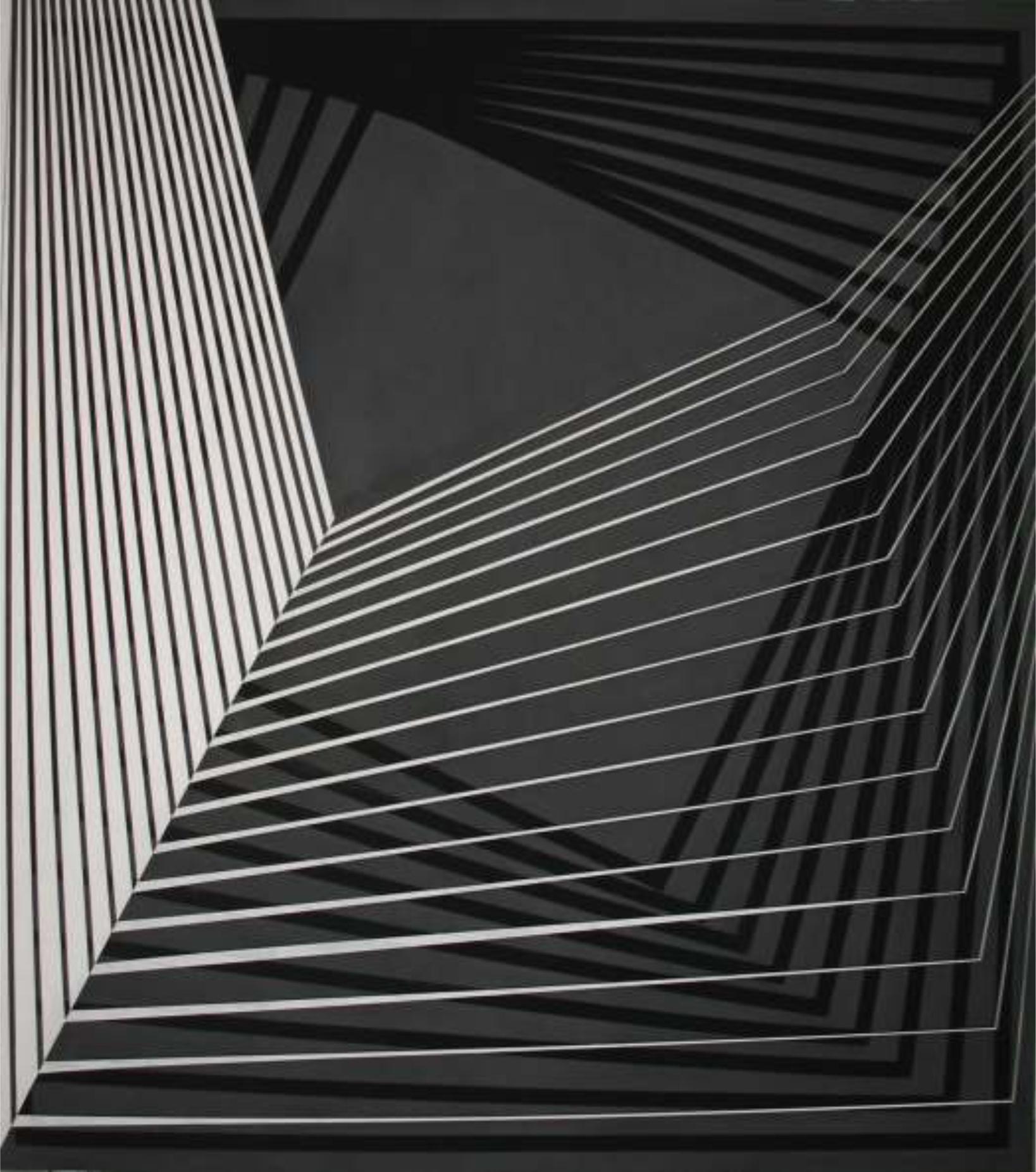 Geometría enjaulada, 150 x 170 cm.  Acrílico sobre tela.