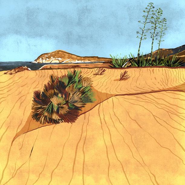 """""""Playa de los Genoveses"""",  Estampación digital, 50 x 70 cm  y  30 x 42,6 cm."""