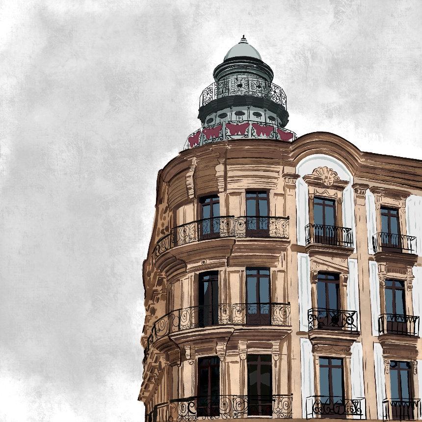 """""""Casa de las Mariposas"""", Estampación digital, 50 x 70 cm  y  30 x 42,6 cm."""