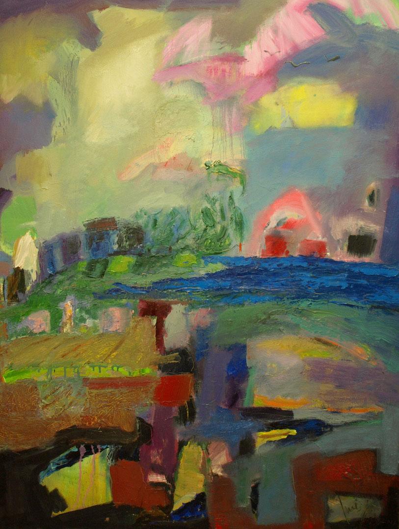Pueblo junto el mar,116 x 90 óleo sobre lienzo.