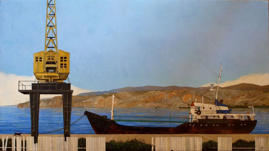Grua Wilcox y barco en el puerto de Almería, acrílico sobre tabla, 80x45cm.