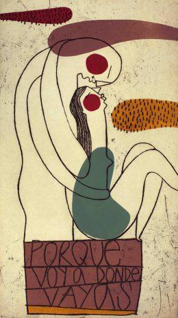 PORQUE VOY A DONDE VAYAS, Barniz blando + acetato,28 x50 cm.