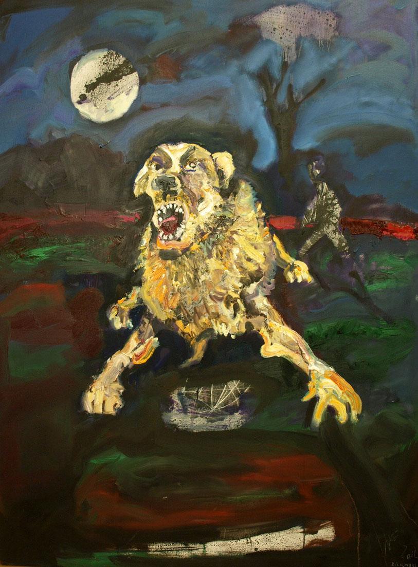 Perro alunado,130X100 óleo sobre lienzo.