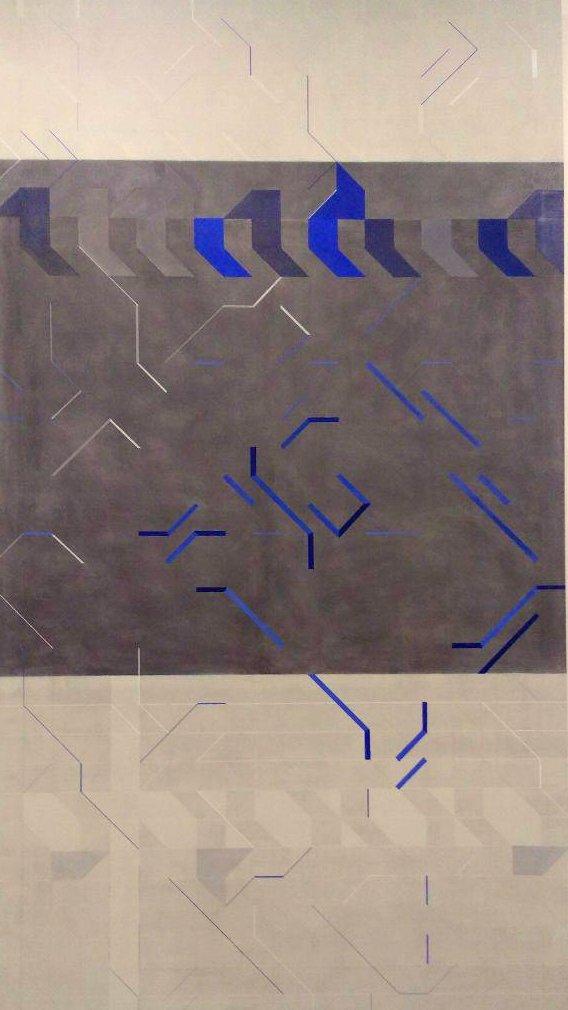 """Pepa Satué """"Toujours recommencé""""                      Técnica mixta sobre tela 180 x 100 cm."""