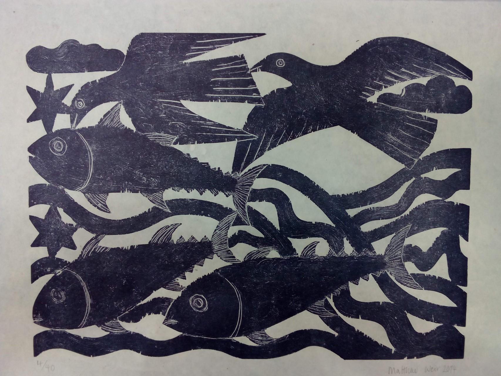 Peces y pájaros, xilografia sobre papel de bambú,  70 x 100 cm.