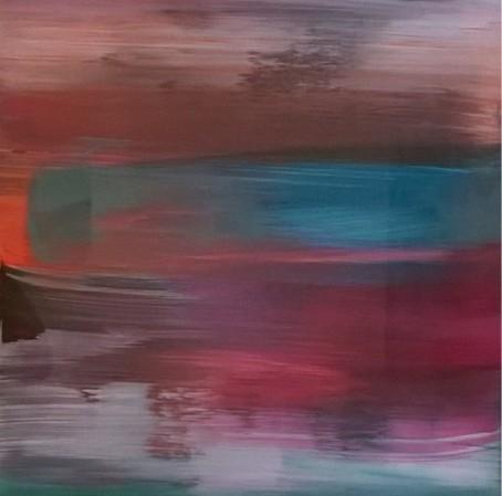 Intenso 2 / 40 X 40 cm.  Año 2012. Acrílico sobre tabla y cristal.