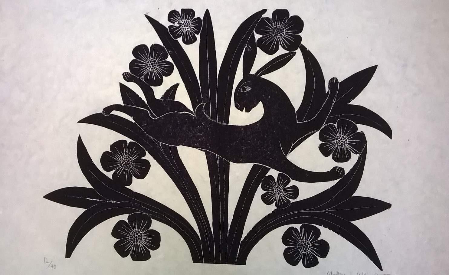 Liebre y flores, xilografia sobre papel de bambú,  70 x 100 cm.