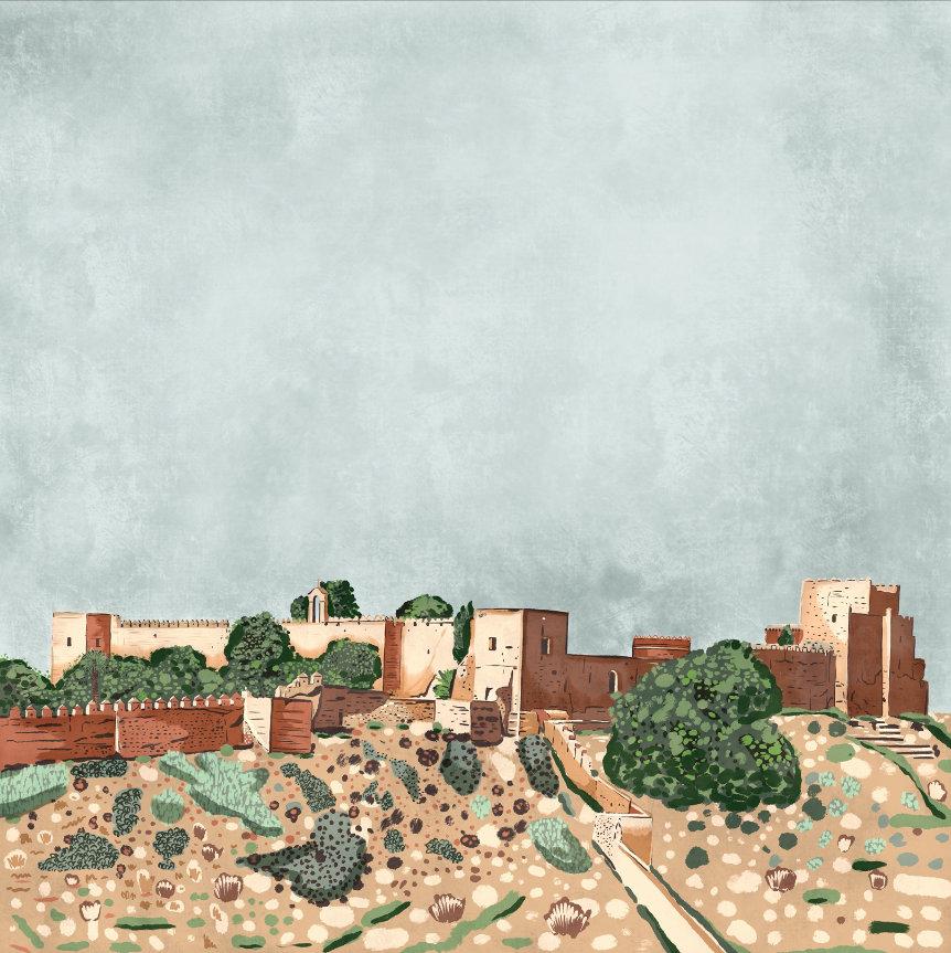 """""""Alcazaba"""", Estampación digital, 50 x 70 cm  y  30 x 42,6 cm."""